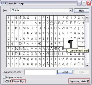 Charmap screenshot showing Pilcrow information